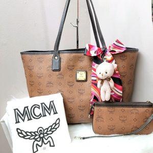 100% Authentic mcm brown shopper tote set